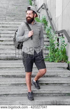 I Love New York. Mature Hipster With Beard Traveller. Bearded Man. Confident Brutal Man Walk Street.