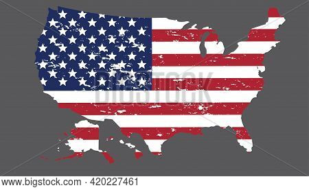 Usa Flag In America Silhouette Map  Grunge Style. Brush Stroke Usa Flag.old Dirty American Flag. Ame