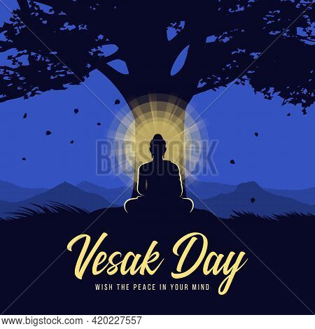 Vesak Day - Silhouette The Lord Buddha Meditated With Radiance Light Under Bodhi Trees At Night Time