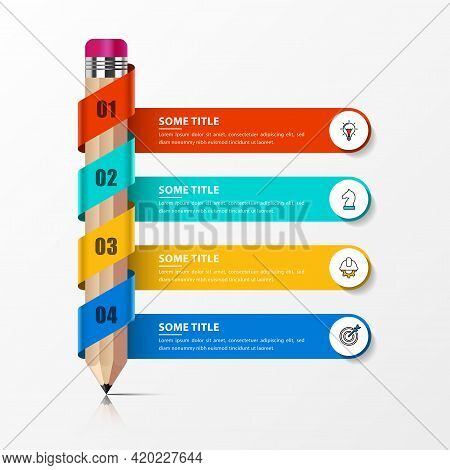 Infographic Design Template. Education Concept With 4 Steps. Can Be Used For Workflow Layout, Diagra