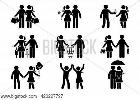 Stick Figure Couple Man, Woman, Male, Female, Boy, Girl, Guy, Lady Spending Time Together. Shopping,