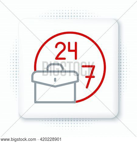 Line Always Busy Icon Isolated On White Background. Colorful Outline Concept. Vector
