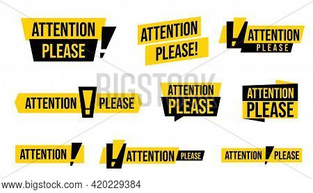 Attention Please Advertising Badge Sticker Set. Important Message, Warning Frame With Exclamation Po