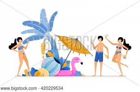 People On Holiday To Tropical Island Beach. Tourist Enjoying Party In Beauty Maldives Beach During S