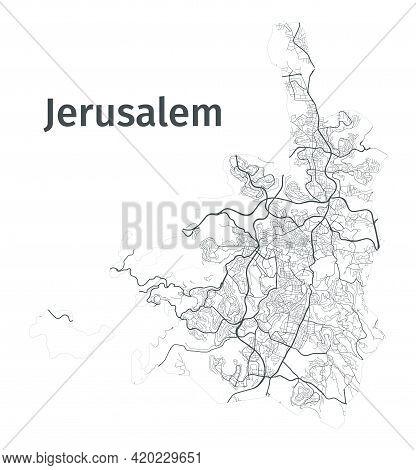 Jerusalem Map. Detailed Map Of Jerusalem City Administrative Area. Cityscape Panorama. Royalty Free