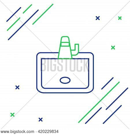 Line Washbasin With Water Tap Icon Isolated On White Background. Colorful Outline Concept. Vector