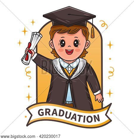 Graduation Ceremony Sign. Happy Graduating Boy Successful Finish Study At University. Little Student