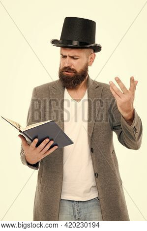 Faced With Senseless Drama. Eloquence And Diction. Bearded Man Read Book. Poetry Reading. Book Prese