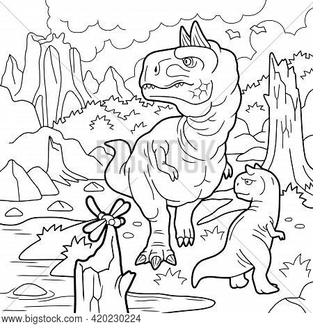 Cartoon Prehistoric Dinosaurs, Coloring Page, Outline Illustration