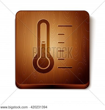 Brown Sauna Thermometer Icon Isolated On White Background. Sauna And Bath Equipment. Wooden Square B