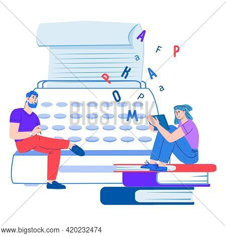 Copywriting, Blogging And Creating Content For Social Media. People Writing Text Using A Typewriter,