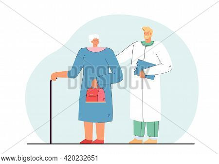 Doctor And Elderly Woman Flat Vector Illustration. Medicine Worker Helping Woman Of Age With Cane, G