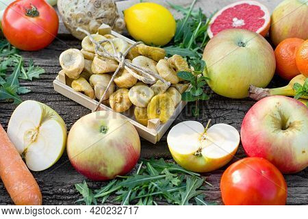 Healthy Eatig, Vegetarian Food, Fresh Organic Fruit And Vegetable On Table