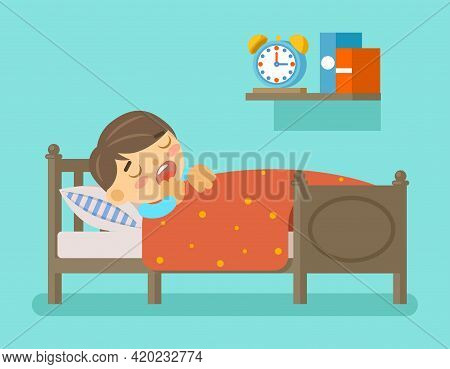 Boy Sleeping In The Bed. Bedtime And Room With Young Kid, Vector Illustration