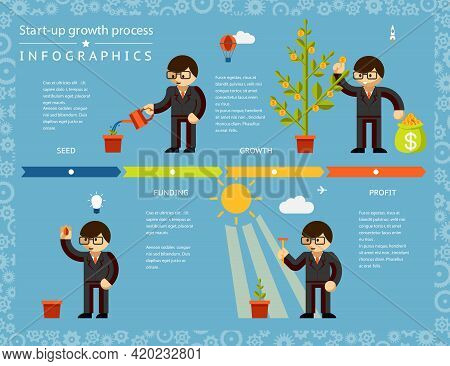 Creative Business Timeline Infographics Design Emphasizing Businessman Planting Tree Concept On Ligh