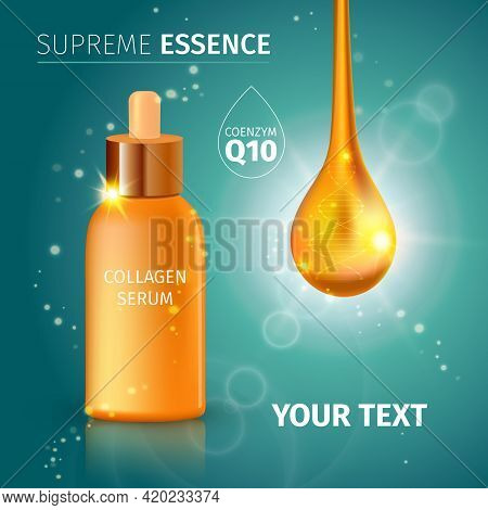Collagen Serum Tubes Poster With White Title Supreme Essence Lights And Glitter On Gradient Backgrou