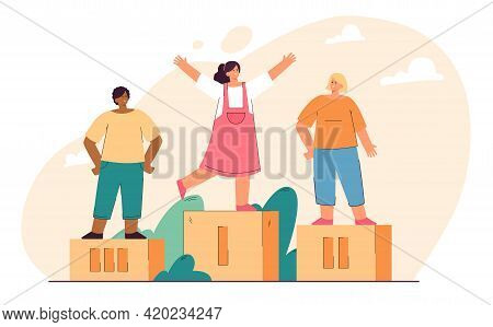 Children Winning Prizes And Standing On Podium. Flat Vector Illustration. Girls Taking First And Sec