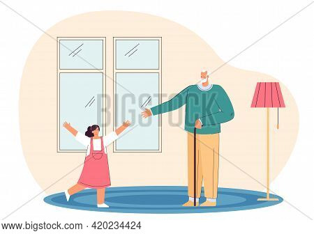 Grandfather Welcoming His Granddaughter. Flat Vector Illustration. Little Girl Running Into Arms Of