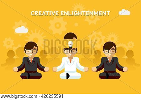 Creative Enlightenment. Business Guru Creative Idea Concept. Leadership And Expertise, Emotional. Ve