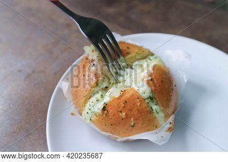 Cheese Bun, Mozzarella Cheese Bun Or Bun With Cheese Stuffed