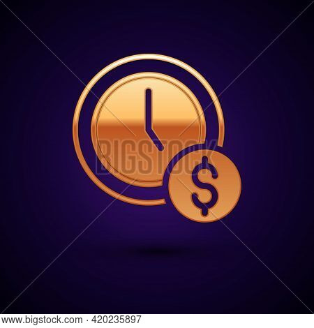 Gold Time Is Money Icon Isolated On Black Background. Money Is Time. Effective Time Management. Conv