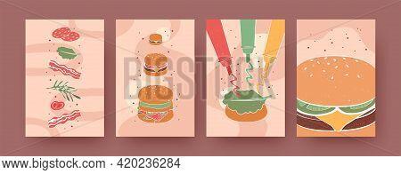Set Of Contemporary Art Posters With Hamburgers And Sauces. Burger, Bacon, Ketchup, Mustard Vector I