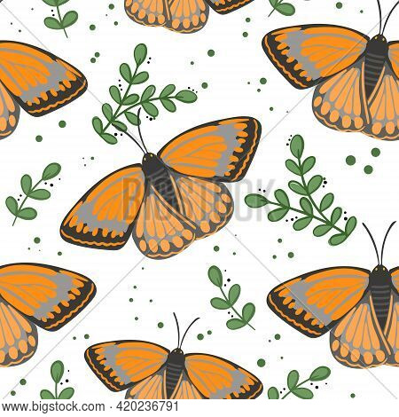 Pattern With Butterflies. Vector. Monarch Butterflies With Leaves. Repeating Solid Spring And Summer