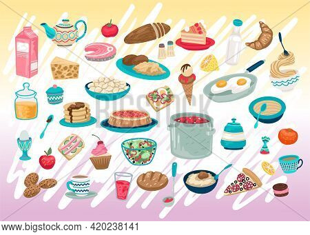Set Of Different Food In The Utensils, Snack, Fast Food, Restaurant Menu, Simple Hand Drawn Food Ico