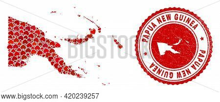 Mosaic Papua New Guinea Map Formed With Red Love Hearts, And Rubber Seal. Vector Lovely Round Red Ru