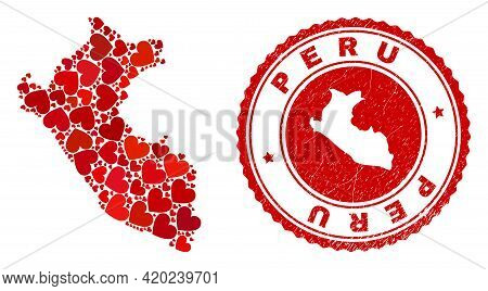 Mosaic Peru Map Created With Red Love Hearts, And Scratched Seal Stamp. Vector Lovely Round Red Rubb