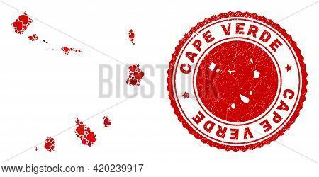 Mosaic Cape Verde Islands Map Created With Red Love Hearts, And Grunge Badge. Vector Lovely Round Re