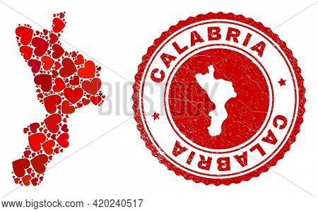 Mosaic Calabria Region Map Designed With Red Love Hearts, And Textured Seal. Vector Lovely Round Red