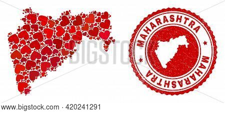 Mosaic Maharashtra State Map Created With Red Love Hearts, And Unclean Seal Stamp. Vector Lovely Rou