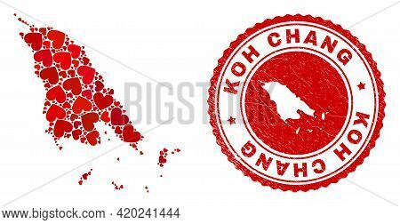 Collage Koh Chang Map Designed From Red Love Hearts, And Textured Seal. Vector Lovely Round Red Rubb