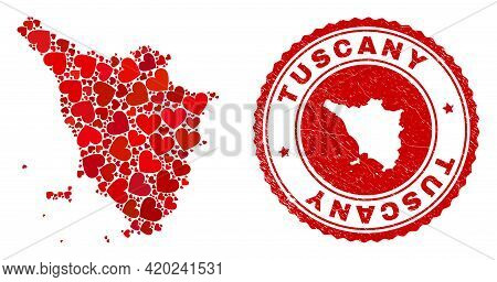 Mosaic Tuscany Region Map Designed From Red Love Hearts, And Corroded Seal Stamp. Vector Lovely Roun