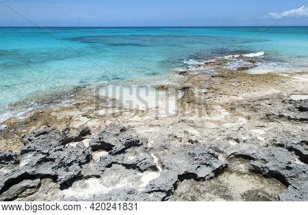 The Scenic View Of Half Moon Cay Island Shore And Caribbean Sea (bahamas).