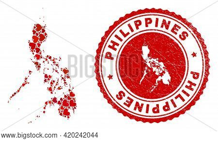 Mosaic Philippines Map Composed With Red Love Hearts, And Rubber Stamp. Vector Lovely Round Red Rubb