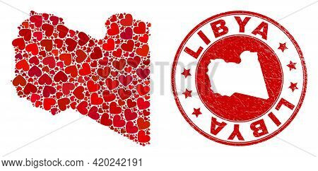 Collage Libya Map Composed With Red Love Hearts, And Scratched Badge. Vector Lovely Round Red Rubber