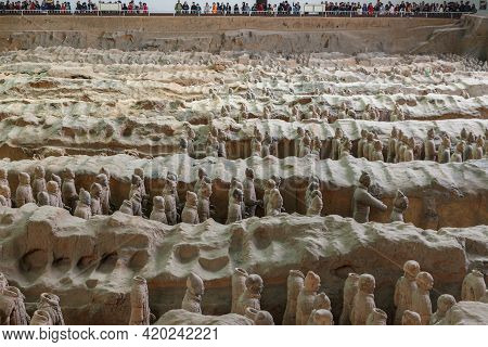 Lintong District, Xian, Shaanxi, China - October 22, 2018: Terracotta Army. Mausoleum Of The First Q
