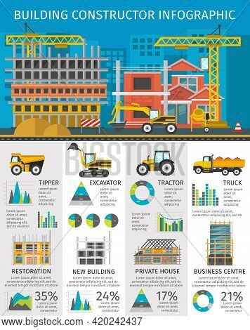 Building Constructor Infographics With Site On Blue Background Machinery And Facilities Charts And S