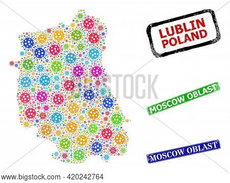 Vector Contagious Collage Lublin Voivodeship Map, And Grunge Moscow Oblast Badges. Vector Colored Lu