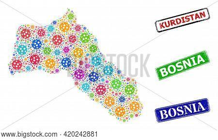Vector Contagious Mosaic Kurdistan Map, And Grunge Bosnia Seal Stamps. Vector Colored Kurdistan Map