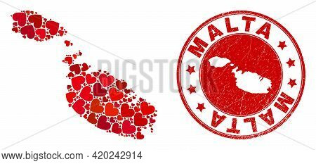 Collage Malta Map Formed With Red Love Hearts, And Rubber Seal Stamp. Vector Lovely Round Red Rubber