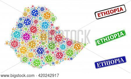 Vector Viral Collage Ethiopia Map, And Grunge Ethiopia Seals. Vector Colored Ethiopia Map Collage, A