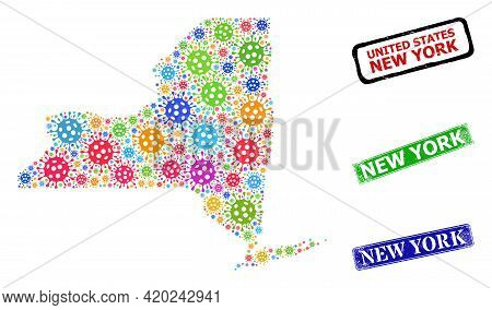 Vector Covid Collage New York State Map, And Grunge New York Seal Stamps. Vector Colored New York St