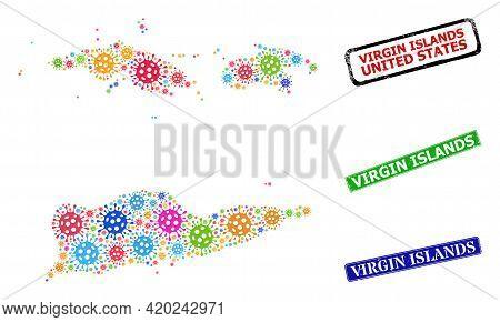 Vector Infection Mosaic American Virgin Islands Map, And Grunge Virgin Islands Badges. Vector Vibran