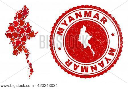 Mosaic Myanmar Map Formed With Red Love Hearts, And Textured Stamp. Vector Lovely Round Red Rubber S