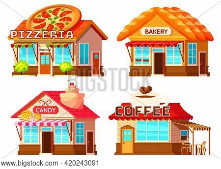 Isolated Coffee Bakery Pizzeria And Candy Shop Colorful Storefronts With Windows Tents And Decorativ