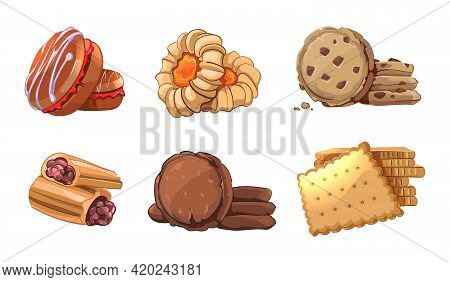 Cookies Vector Icons Set In Cartoon Style. Bakery Element, Snack Nutrition, Tasty Dessert, Roll Yumm