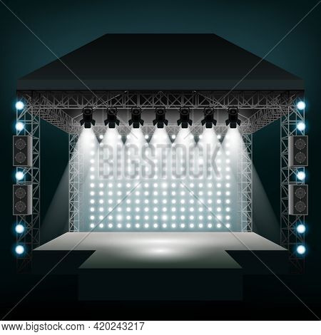 Concert Stage With Spotlights. Show And Scene, Entertainment Disco Party. Vector Illustration